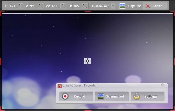 Click to view ChrisPC Screen Recorder 2.00 screenshot